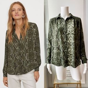 H&M Long-Sleeve Green Snake Print Button Up Blouse